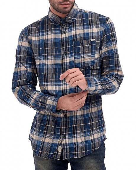 JJVBAKER SHIRT L/S ONE POCKET ΚΑΡΩ ΠΟΥΚΑΜΙΣΟ ΤΗΣ VINTAGE BY JACK & JONES - 12121416