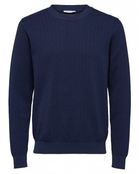 CREW NECK - KNITTED PULLOVER ΠΛΕΚΤΟ ΤΗΣ SELECTED - 16059251  - ΜΠΛΕ