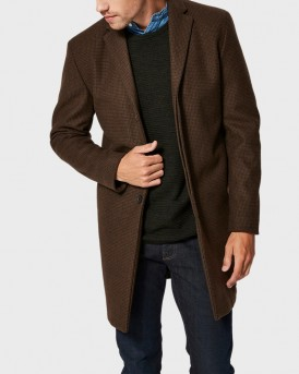DARK BROWN MELAGNE WOOL COAT ΤΗΣ SELECTED - 16063103
