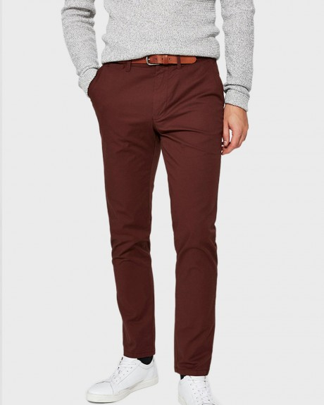 BITTER CHOCOLATE SLIM FIT CHINOS PANTS ΤΗΣ SELECTED - 16062980 NOOS