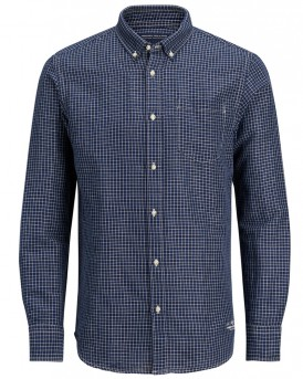COTTON-LINEN SHIRT ΤΗΣ PREMIUM BY JACK & JONES -  12135085 - ΜΠΛΕ