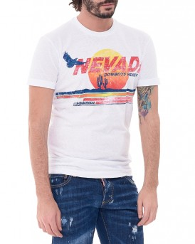 NEVADA Print T-Shirt της DSQUARED2 S74GD0190S22507  - ΑΣΠΡΟ