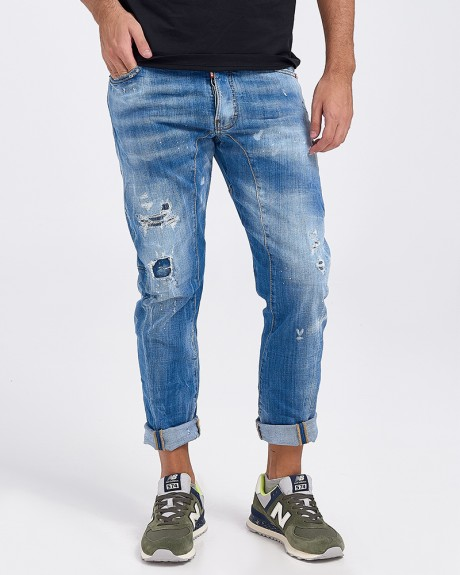 BLUE DESTROYED TIDY BIKER JEANS ΤΗΣ DSQUARED - S74LB0430 S30342