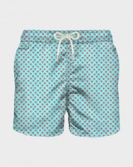 WHITE MICRO FISH PRINT LIGHT FABRIC SWIM SHORTS ΤΗΣ MC2- LIGHTING MICROFANTAS