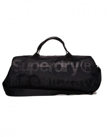 BLACK TRACKMASTER BARREL BAG ΤΗΣ SUPERDRY - M91009DP