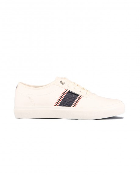 JFWAUSTIN DENIM STRIPE BRIGHT WHITE SNEAKERS ΤΗΣ JACK & JONES - 12150459