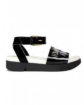 PATENT LEATHER SANDAL WITH LOGO ΤΗΣ EMPORIO ARMANI - X3U063 XF161  - ΜΑΥΡΟ