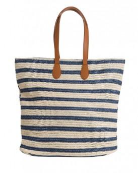 Straw τσάντα ώμου της PIECES - 17080033  - ΜΠΛΕ