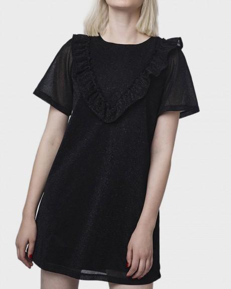 METALLIC BLACK SHIFT DRESS ΤΗΣ COMPANIA FANTASTICA - WI18HAN108