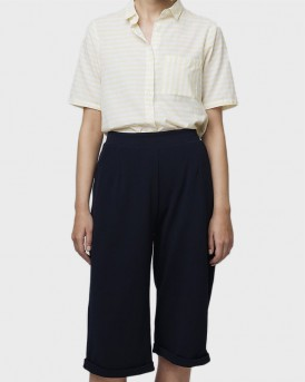 BLUE CULOTTE TROUSERS WITH TURNOVER HEM ΤΗΣ COMPANIA FANTASTICA - SS19ΗΑΝ109 - ΜΠΛΕ