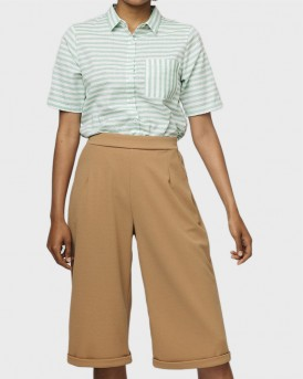 BROWN CULOTTE TROUSERS WITH TURNOVER HEM ΤΗΣ COMPANIA FANTASTICA - SS19ΗΑΝ107 - ΜΠΕΖ