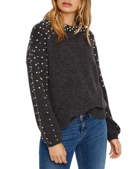 PEARL KNITTED PULLOVER ΤΗΣ VERO MODA - 10205411 - ΑΝΘΡΑΚΙ
