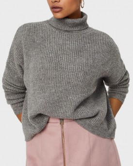 HIGH NECK WOOL KNITTED PULLOVER ΤΗΣ VERO MODA - 10200418 - ΓΚΡΙ