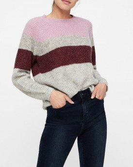 COLOUR BLOCKED KNITTED PULLOVER ΤΗΣ VERO MODA - 10201458 - ΓΚΡΙ