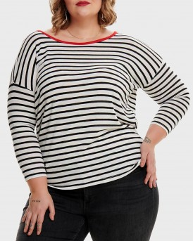 CURVY DETAILED 3/4 SLEEVED TOP ΤΗΣ ONLY CARMAKOMA - 15174819 PLUS