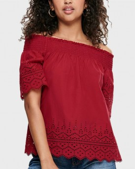 EMBROIDERY OFF-SHOULDER TOP ΤΗΣ ONLY - 15169944