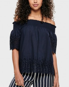 EMBROIDERY OFF-SHOULDER TOP ΤΗΣ ONLY - 15169944 - ΜΠΛΕ