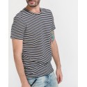 Selected T-Shirt Striped O-Neck - 16066618 - ΜΑΥΡΟ