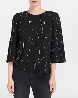 AWARE PRINTED BLOUSE ΤΗΣ VERO MODA - 10210352 - ΜΑΥΡΟ