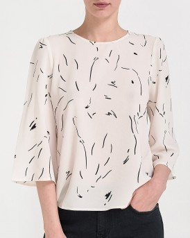 AWARE PRINTED BLOUSE ΤΗΣ VERO MODA - 10210352 - ΑΣΠΡΟ