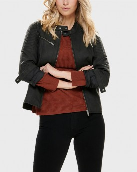 SHORT FAUX LEATHER PU JACKET THΣ ONLY - 15180339