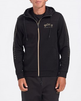 ΖΑΚΕΤΑ CONTRAST CURVED LOGO ZIPPER HOODIE THΣ BOSS - 50418944 SAGGY
