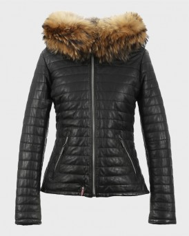 HAPPY FUR TRIM HOODED LEATHER JACKET ΤΗΣ OAKWOOD - HAPPY 1 61677