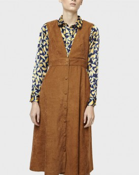 BROWN CORDUROY MIDI PINAFORE DRESS ΤΗΣCOMPANIA FANTASTICA - FA19HAN25