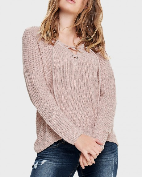 LACE-UP KNITTED PULLOVER ΤΗΣ ONLY - 15129996 NOOS