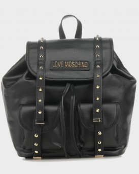TΣΑΝΤΑ COATED COTTON METALLIC SILVER BACKPACK ΤΗΣ LOVE MOSCHINO - JC4078PP1ALL1 - ΜΑΥΡΟ