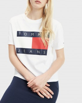 ΜΠΛΟΥΖΑ TOMMY FLAG PRINT CROPPED FIT T-SHIRT ΤΗΣ TOMMY HILFIGER - DW0DW07153