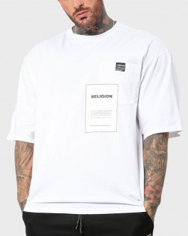 OVER LAY T-SHIRT ΤΗΣ RELIGION - 10BOVG29 - ΑΣΠΡΟ