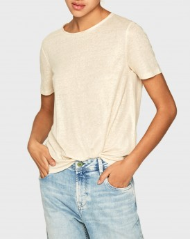 T-SHIRT LUA IN LINEN FABRIC ΤΗΣ PEPE JEANS - ΡL504473 LUA - ΜΠΕΖ