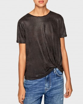 T-SHIRT LUA IN LINEN FABRIC ΤΗΣ PEPE JEANS - ΡL504473 LUA - ΑΝΘΡΑΚΙ