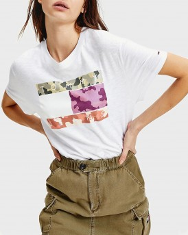 T-SHIRT CAMOUFLAGE FLAG PRINT CROPPED FIT ΤΗΣ TOMMY HILFIGER - DW0DW08051