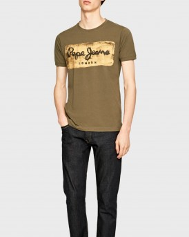 CHARING VINTAGE EFFECT T-SHIRT WITH LOGO ΤΗΣ PEPE JEANS - PM503215 CHARING - ΛΑΔΙ