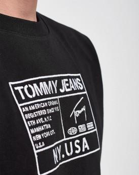 T-SHIRT JERSEY LOGO ΤΗΣ TOMMY HILFIGER - DΜ0DM07848 - ΜΑΥΡΟ