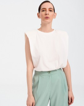 PADDED SHOULDER T-SHIRT ΤΗΣ POPTOMETRY - Μ3008 - ΑΣΠΡΟ