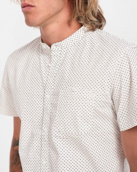 ΠΟΥΚΑΜΙΣΟ PATTERNED SHORT-SLEEVED SHIRT WITH A MAO COLLAR THΣ TOM TAILOR - 1018829.ΧΧ.12 - ΑΣΠΡΟ