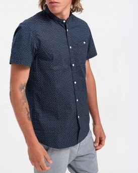 ΠΟΥΚΑΜΙΣΟ PATTERNED SHORT-SLEEVED SHIRT WITH A MAO COLLAR THΣ TOM TAILOR - 1018829.ΧΧ.12 - ΜΠΛΕ