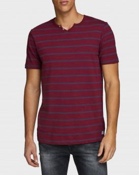 Jack & Jones T-Shirt Striped Split Neck - 12165239