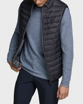 Jack & Jones High Collar Puffer Γιλέκο - 12165202 - ΜΑΥΡΟ