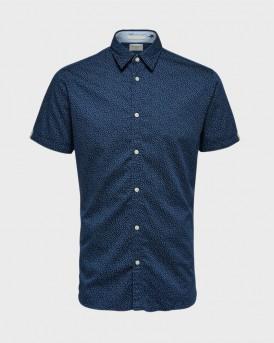 Jack & Jones Πουκάμισο Micro Print Short Sleeved - 16073553 - ΜΠΛΕ