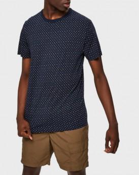 Selected T-Shirt Micro Printed Crew Neck - 16073658 - ΜΠΛΕ