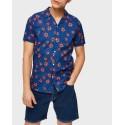 Selected Πουκάμισο Cuban Short Sleeved - 16073545 - ΜΠΛΕ