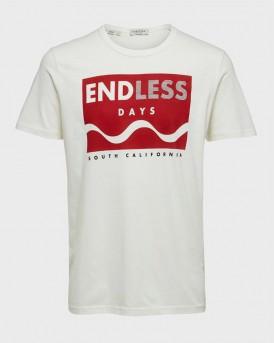 Selected T-shirt Endless Print - 16073661 - ΕΚΡΟΥ