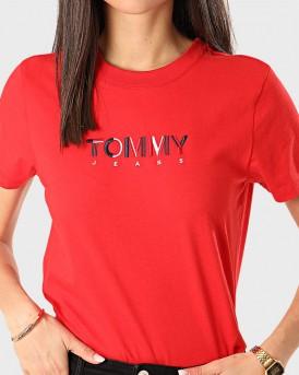 Tommy Hilfiger T-Shirt Logo Print - DW0DW08053 - ΚΟΚΚΙΝΟ