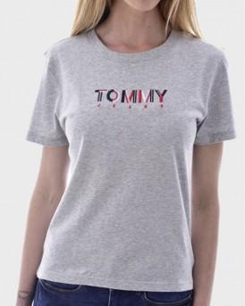 Tommy Hilfiger T-Shirt Logo Print - DW0DW08053 - ΓΚΡΙ