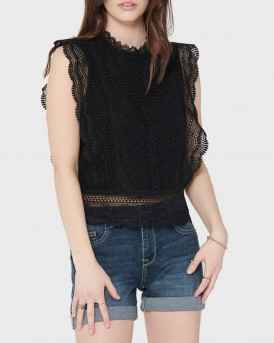 Only Top Cropped Lace - 15204604 - ΜΑΥΡΟ