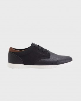 Jack & Jones Classic Black Faux Leather Sneakers - 12144257 NOOS - ΑΝΘΡΑΚΙ